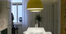 Kök och fikarum med pendel Muuto unfold och LED liser i både fönster och köksdel